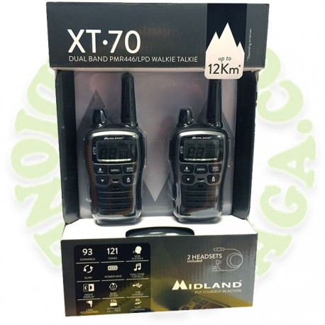 Pareja walkies PMR446 MIDLAND XT-70
